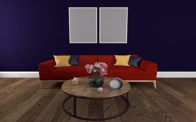 Rode bank met ronde tafel en wandframe mockup van 3d-gerenderde interieur van moderne woonkamer