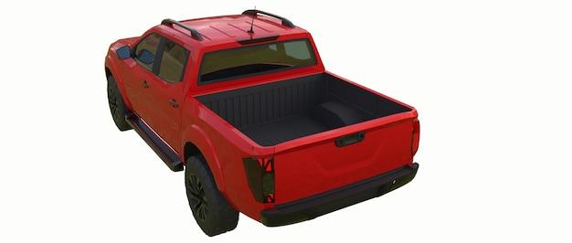 Rode bestelwagen bedrijfswagen met dubbele cabine