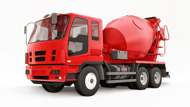 Rode betonmixer vrachtwagen wit oppervlak