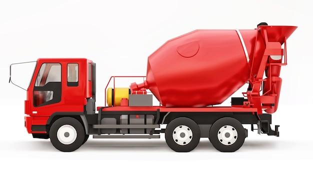 Rode betonmixer vrachtwagen witte achtergrond. driedimensionale afbeelding van bouwmachines. 3d-rendering.