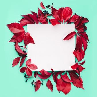 Rode bladeren en blauwe bessen frame op mint achtergrond. natuur herfst concept.