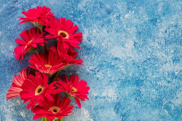 Rode bloemen op blauwe en witte achtergrond
