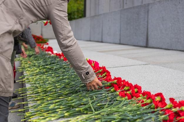 Rode bloemen ter nagedachtenis aan slachtoffers in de wereldoorlog op overwinningsdag
