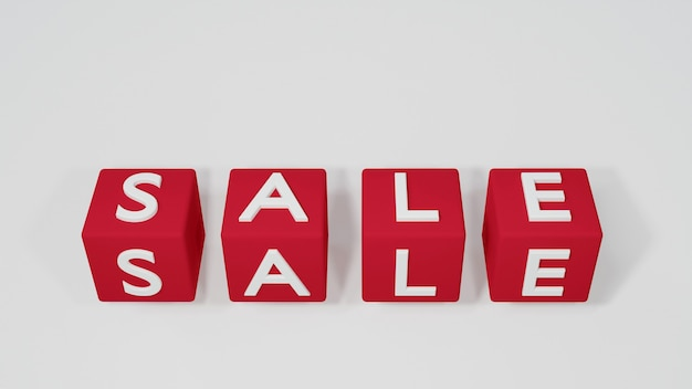Rode blokjes met witte verkoop brief geïsoleerd op een witte achtergrond, 3d illustratie, volumetrische kubus