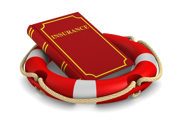 Rode boek en reddingsboei op wit.