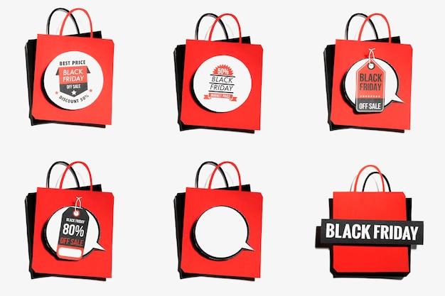 Rode boodschappentas met aanbiedingen van black friday