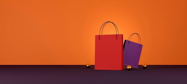 Rode boodschappentas op oranje achtergrond verkoop banner ontwerp 3d illustratie