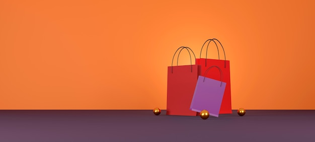 Rode boodschappentas op oranje achtergrond. verkoop banner ontwerp. 3d illustratie