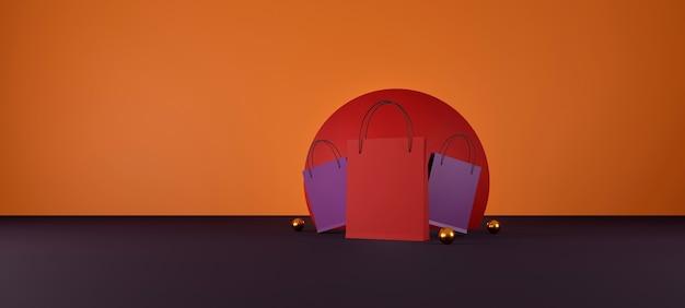 Rode boodschappentas op oranje en rode achtergrond