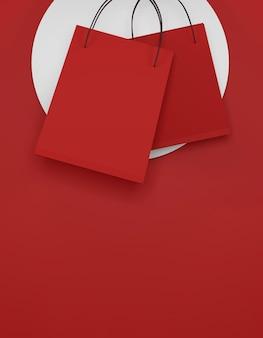 Rode boodschappentas op rode achtergrond. verkoop banner ontwerp. 3d illustratie