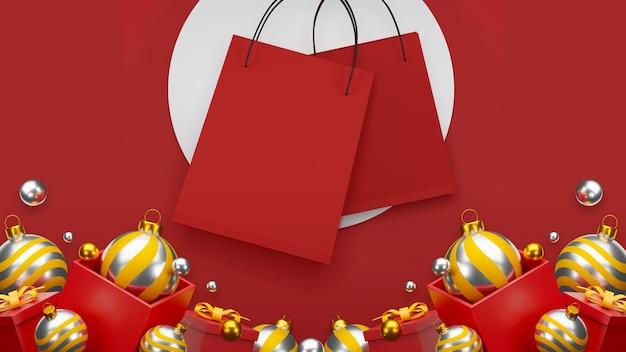 Rode boodschappentas op rode achtergrond verkoop banner ontwerp 3d illustratie