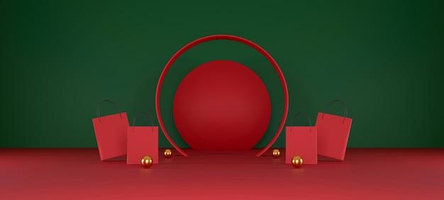 Rode boodschappentas op rode en groene achtergrond verkoop banner ontwerp 3d illustratie