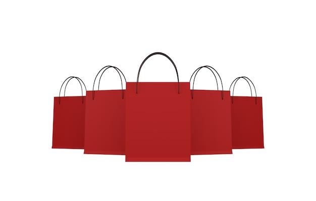Rode boodschappentas op witte achtergrond. uitknippaden. 3d illustratie