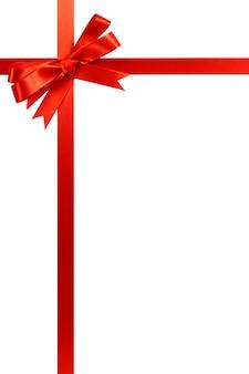 Rode boog kerst cadeau lint verticaal