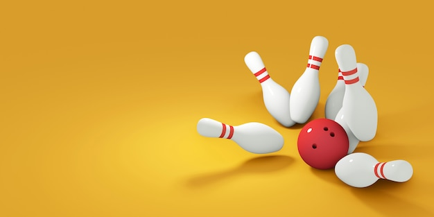 Rode bowlingbal die tegen spelden slaat. 3d render