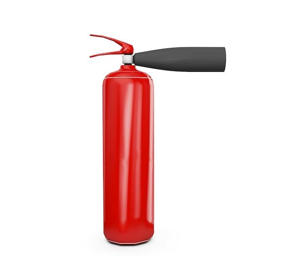 Rode brandblusser in de lucht. 3d render geïsoleerd op een witte achtergrond