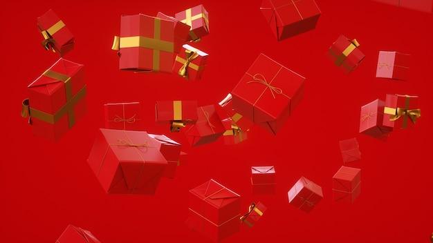 Rode cadeaus voor elke gelegenheid online winkelen meisjesdag 3d-rendering