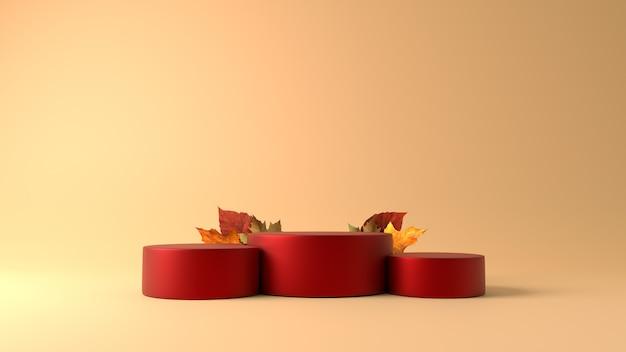 Rode cilinder podium met esdoorn bladeren in herfst thema achtergrond