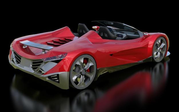 Rode conceptuele sportcabriolet voor het rijden door de stad en racebaan op een zwarte achtergrond. 3d-rendering.