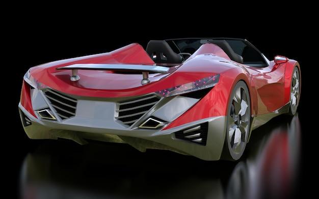 Rode conceptuele sportcabriolet voor het rijden door de stad en racebaan op een zwarte achtergrond. 3d-rendering. Premium Foto