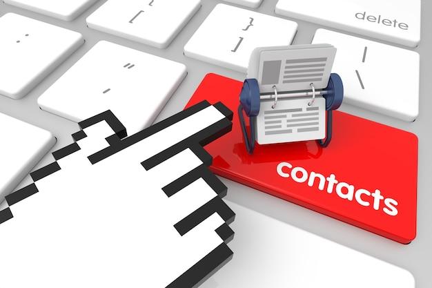 Rode contacten enter-toets met handcursor 3d-rendering