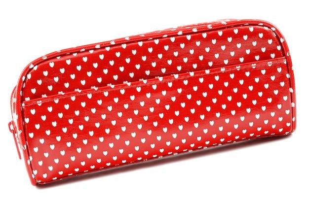 Rode cosmetische tas met witte harten
