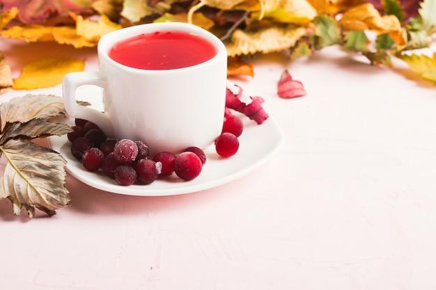 Rode cranberrydrank met droge bladeren