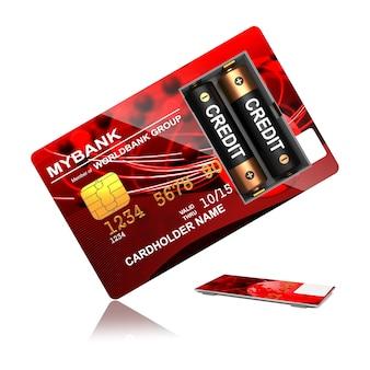 Rode creditcard met batterijen op wit