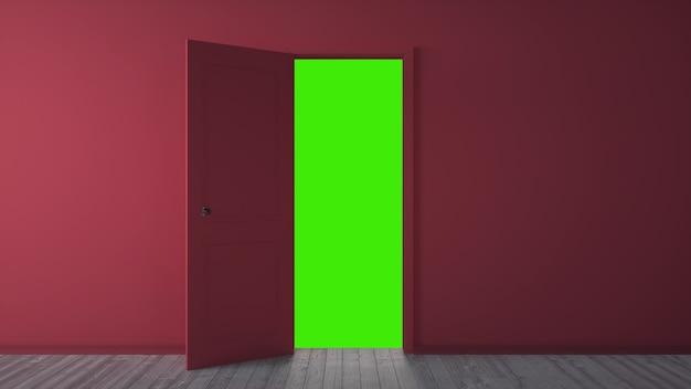 Rode deuropening naar groen scherm, chromakey. 3d-rendering