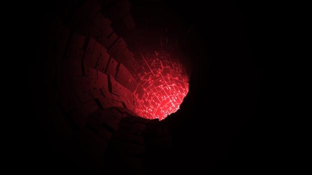 Rode digitale kabel netwerk verbinden tunnel achtergrond 3d-rendering