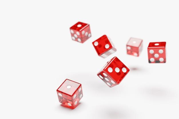 Rode dobbelstenen vliegen op witte achtergrond. twee dobbelstenen casino spel sjabloon concept. casinoachtergrond.
