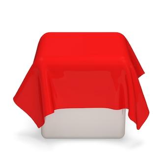 Rode doek bedekte witte kubus