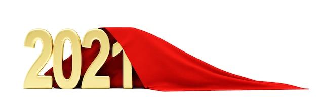 Rode doek stof ontvouwen gouden 2021 nieuwjaar symbool op witte achtergrond