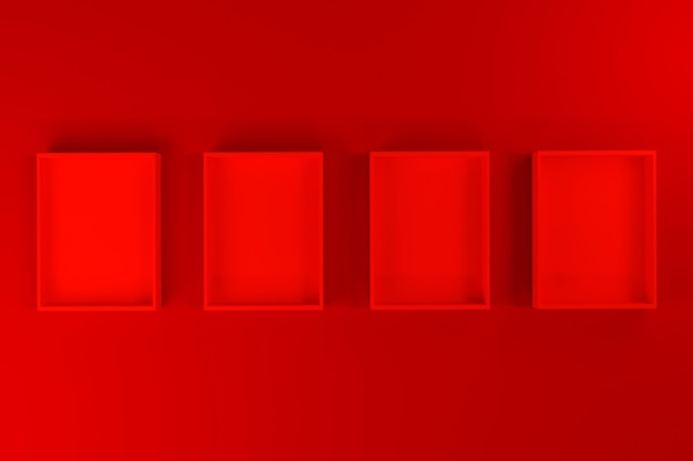 Rode doos of lade mockup op rode achtergrond, 3d render.