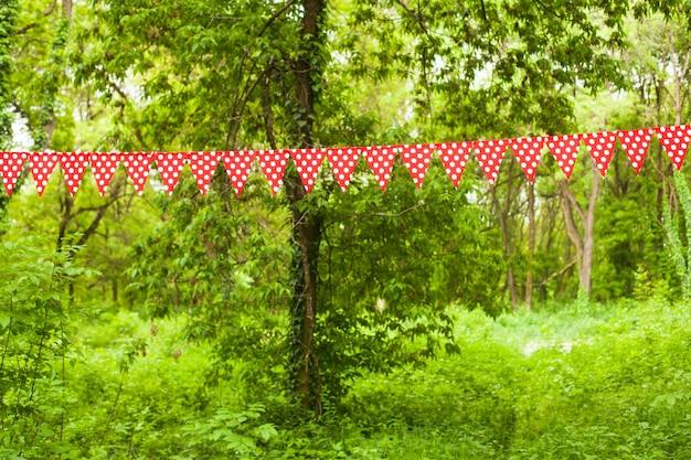 Rode driehoekige vlaggen met witte stippen op de natuurachtergrond