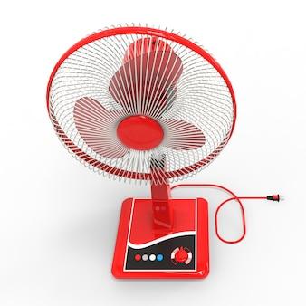 Rode elektrische ventilator. driedimensionaal model op een wit oppervlak. ventilator met bedieningsknoppen op de standaard. een eenvoudig apparaat voor luchtventilatie