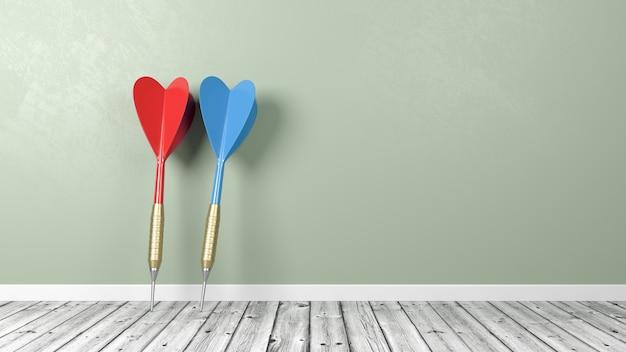 Rode en blauwe darts op houten vloer tegen muur