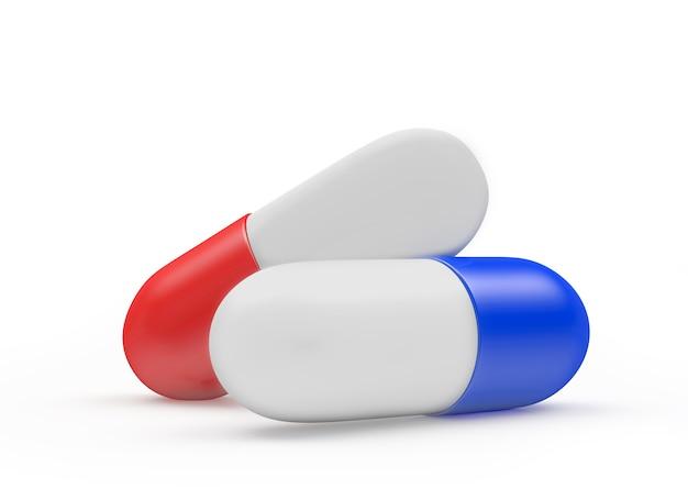 Rode en blauwe medische capsules close-up