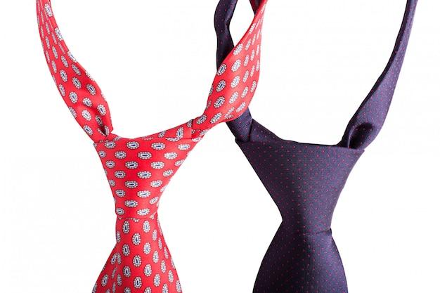 Rode en blauwe stropdassen
