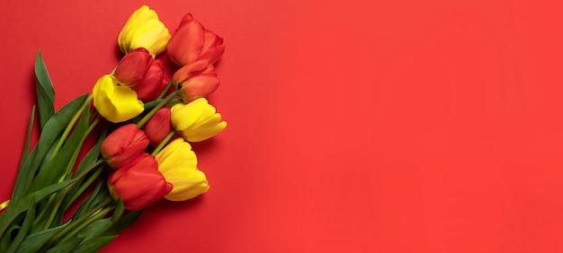 Rode en gele tulpen op rood