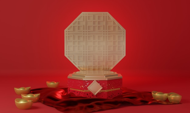 Rode en gouden chinese achtergrond 3d-rendering