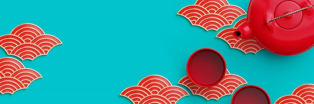 Rode en gouden geometrische oosterse golfvorm en theepot op blauwe achtergrond. 3d-rendering illustratie.