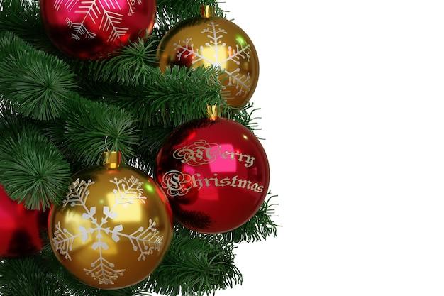 Rode en gouden kerstballen op kerstboom geïsoleerd op een witte achtergrond.