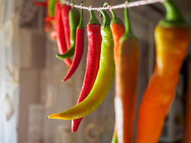 Rode en groene chilipepers die aan een kabel hangen.