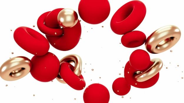 Rode en metaal gouden abstracte vormenachtergrond