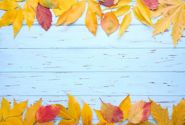 Rode en oranje herfstbladeren op blauwe tafel
