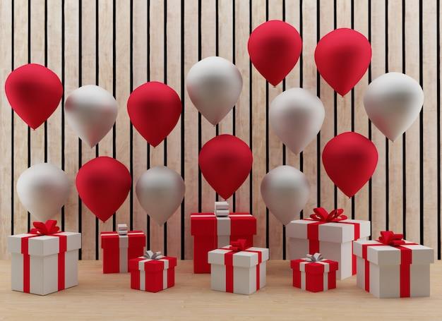 Rode en witte ballonnen met geschenkdozen es
