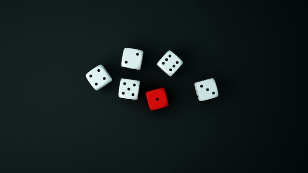 Rode en witte dobbelstenen op de zwarte vloer. dobbelstenen voor gokkunstwerk