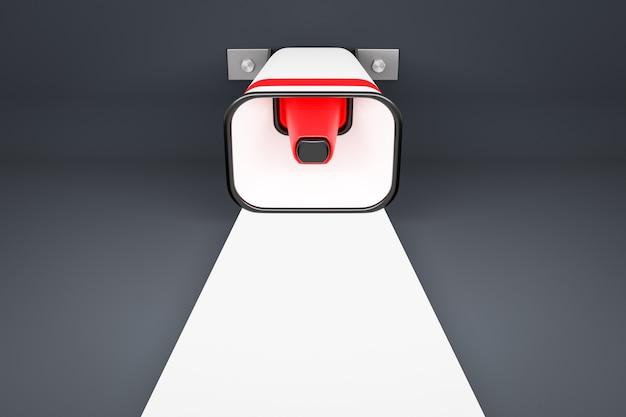 Rode en witte luidspreker op een grijze monochrome achtergrond.