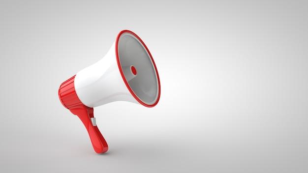 Rode en witte megafoon omroepinstallatie op wit wordt geïsoleerd
